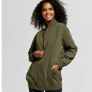 Who what wear collection long olive bomber jacket